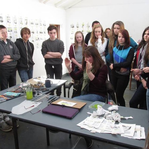 Local school children visit my studio while at Ballinglen Arts on Fellowship