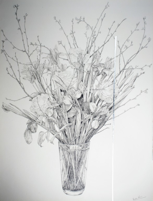 Arrangement 1, graphite and silver leaf, 76x57cm