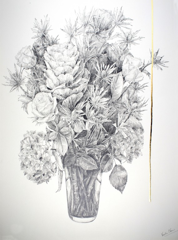 Arrangement 1, graphite and gold leaf, 76x57cm