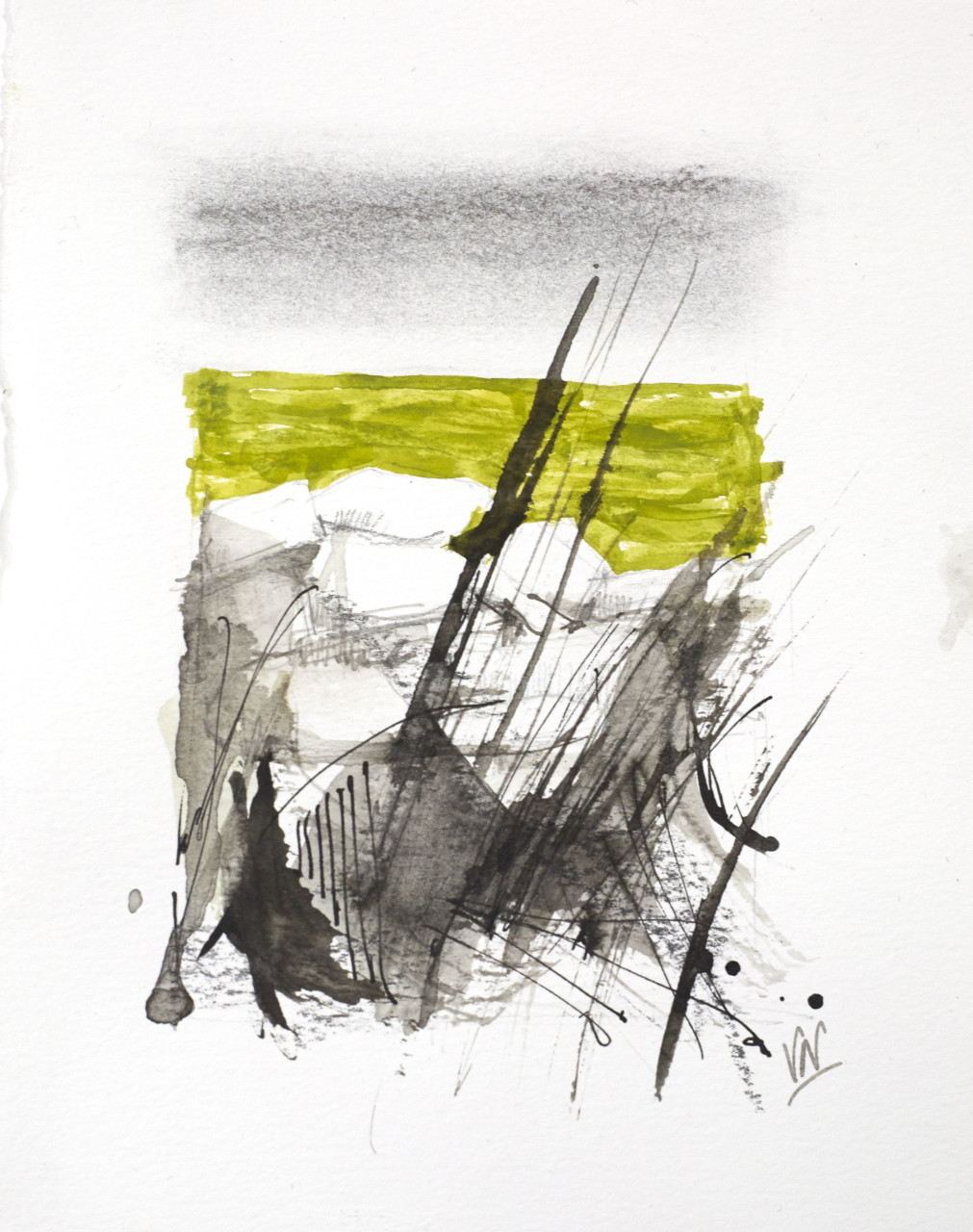 Movement 15, graphite, ink and gouache, 17.5x13.5cm