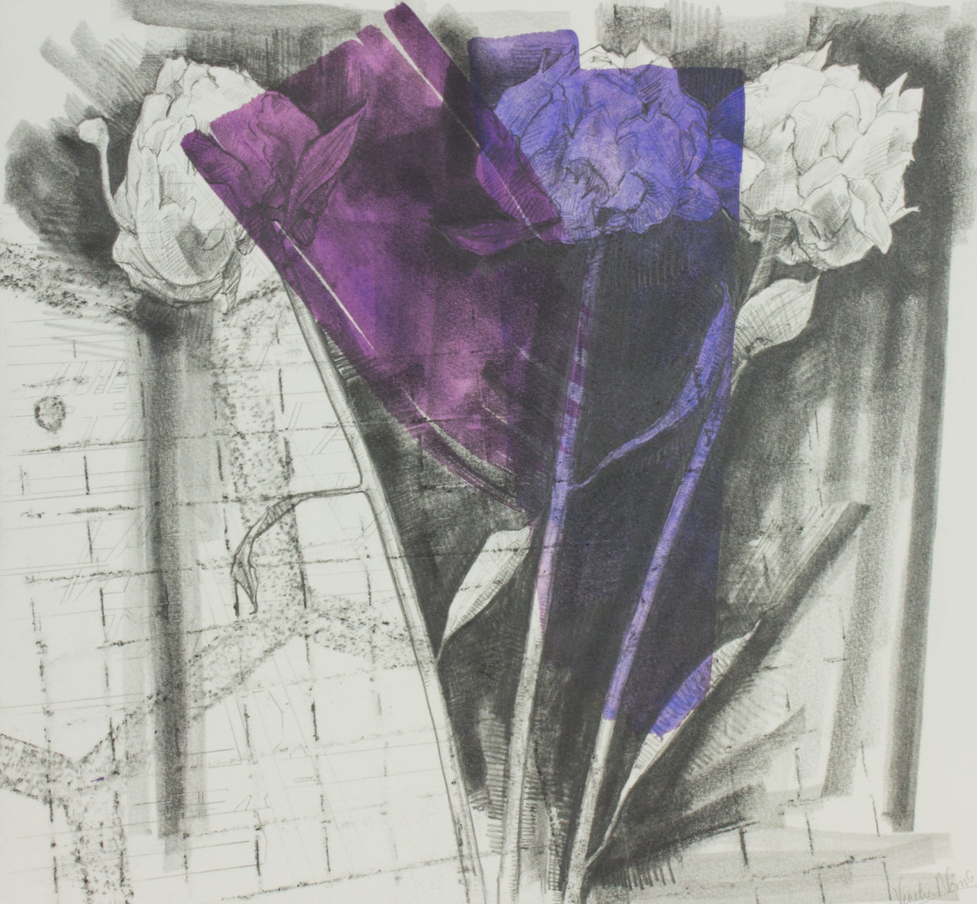 Colours and scents, graphite and paint on board, 35.4 x 38.2 cm, £725