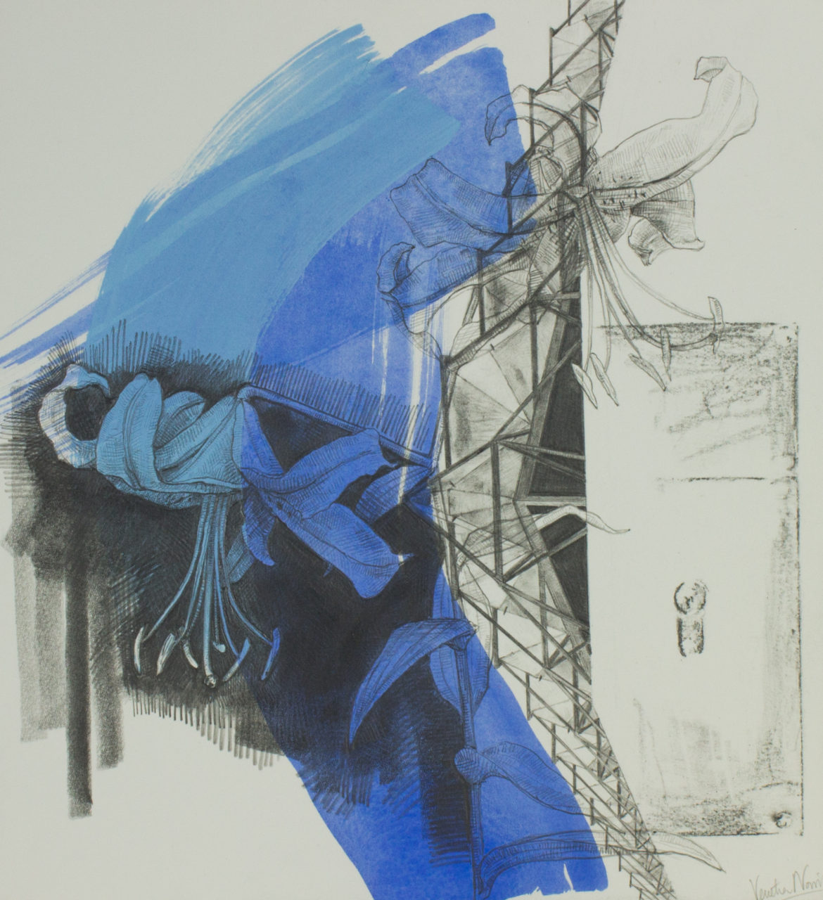 Early morning bustle, graphite and paint on board, 38.2 x 35.4 cm, £725