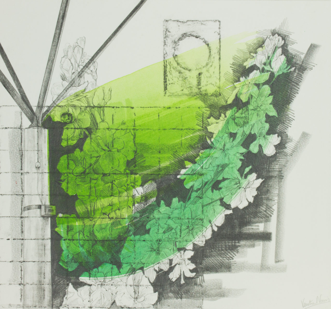 Green and twiggy, graphite and paint on board, 35.4 x 38.2 cm, sold
